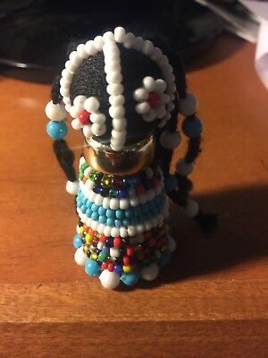 "African Ndebele Hand Made fertility doll- 2.5"" LT Blue"