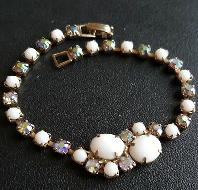 Unsigned WEISS Vtg AB Crystal Rhinestone Bracelet White Milk Glass X255