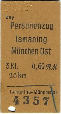 Railway tickets Germany Ismaning to Munchen-Ost third class single used 1936