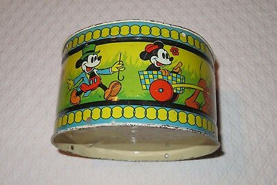 1937 MICKEY MOUSE & DONALD DUCK tin litho OHIO ART drum NR