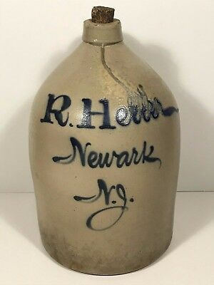 19th C 5 Gallon Cobalt Script Jug R. Heller Newark, NJ Decorated Stoneware Crock