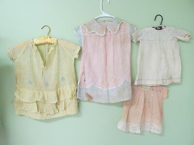 Vintage 1920's  Little Girl Dresses Collection Of 4 /embroidery Details And More