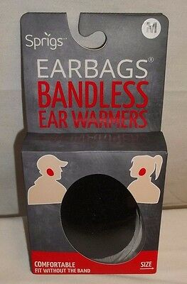 Sprigs Black Earbags Bandless Warmers Thinsulate Lining Medium NIB!