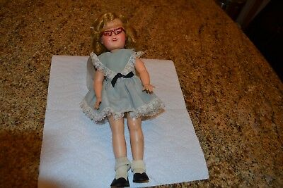 Shirley Temple ST-12 Ideal Doll, circa 1956, Blue Dress, with Glasses