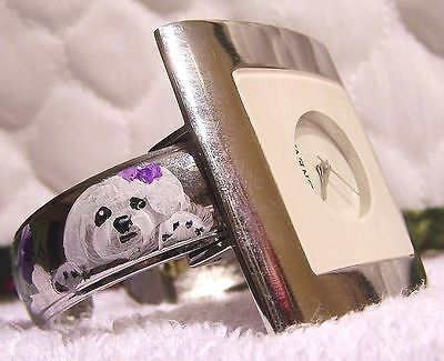 hand painted Bichon Frise on Geneva cuff watch