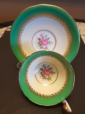 Vintage Aynsley  Footed Cup And Saucer Gilt Filigree And Pink Roses Green Rim #2