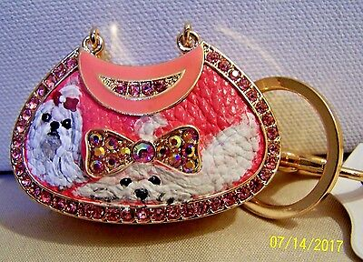 Maltese hand painted purse crystal key chain handbag charm gift