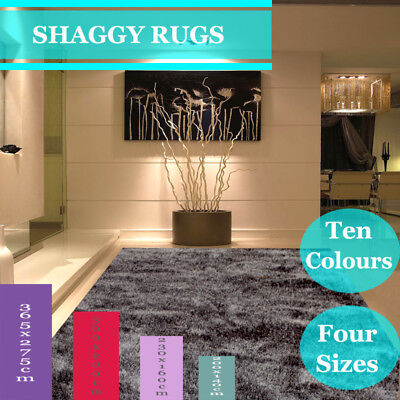 365x275cm Extra Large Grey Shag Shaggy Floor Confetti Rug Carpet Hand Tufted