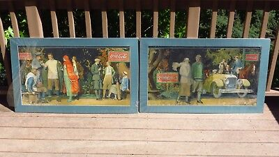 1920's Trolley Coca-Cola Cardboard Display Sign Cars Racing Golf Horse Streetcar