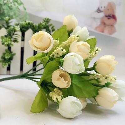 15 Heads Artificial White Rose Silk Fake Flower Leaf Bridal Bouquet Home Decor