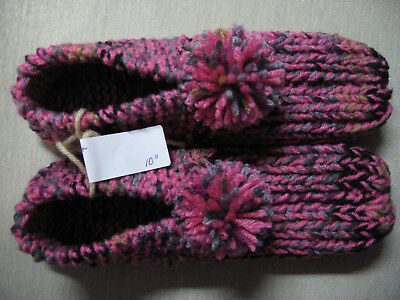 NWOT Amish Handmade House Slippers Pink Raspberry Mix Wms X Lg Mans Med/Lg 10""