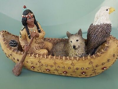 Native American Indian Rowing Canoe with Eagle and Wolf Figurine Collectibles