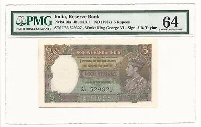 1937 India 5 Rupees, P-18a PMG 64 Choice UNC Nice Paper NO RUST Taylor Sign.