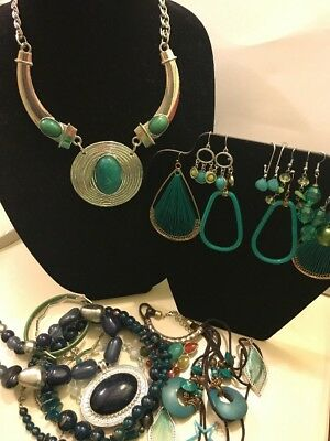 Blue/green Fashion Jewelry Lot Earrings, Bracelets And Necklaces