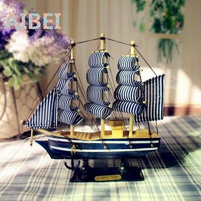Wooden Sailing Ship Handmade Carved Model Boat Home Nautical Decoration
