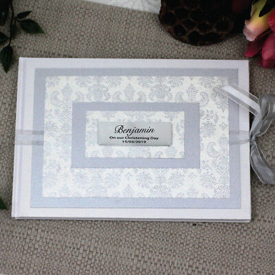Personalised Guest Book- Baroque White - Christening, Baptism, Naming Day
