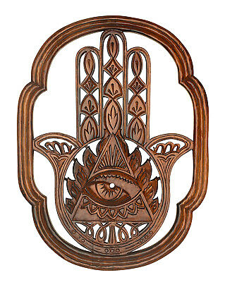 Hamsa Fatima Wood Hand Carved Large Wall Hanging Wooden Sculpture Decorative