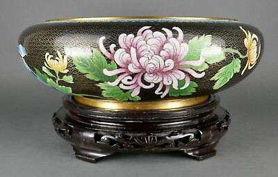 "Fine Old Chinese Cloisonne Enamel Large 15"" wide Floral Back Ground Bowl & Stand"