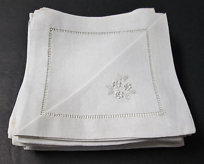 12 Antique Linen Cocktail Napkins Floral Embroidery Silky Fabric High Quality