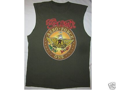 AEROSMITH Aero Force One World Tour 1999 No Sleeves Green T-Shirt
