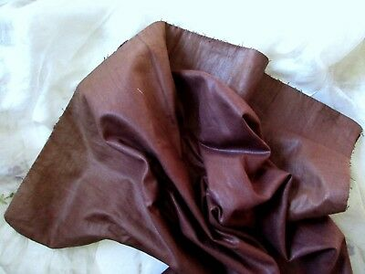 WONDERFUL ANTIQUE VICTORIAN FRENCH 1800s POLISHED COTTON FABRIC BRN WINE PATINA