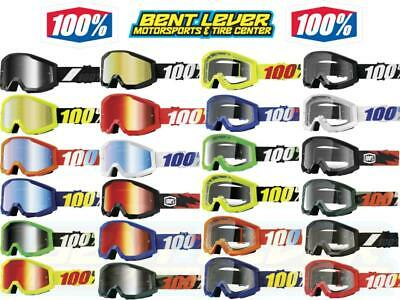 100% Strata Goggle Clear Mirrored Lens Adult Offroad Motocross Dirt Bike Goggles