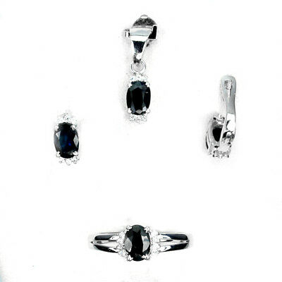 Beauteous Naural Oval 7x5mm Top Black Sapphire White Cz 925 Sterling Silver Sets