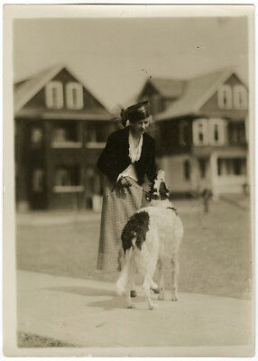 Rare 1920s Charles Sheldon Women's Fashion Photograph Stylish Flapper w/ Borzoi