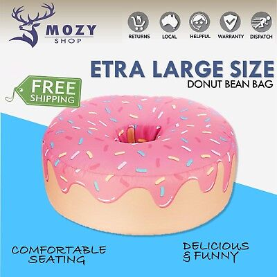 Extra Large Pink Donut Bean Bag Chair Beanbag Cozy Kids Living Room Comfort NEW