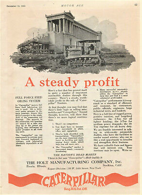 1924 Original Holt Mfg CATERPILLAR Full Page TRACTOR AD. Full Force Feed Oil Sys