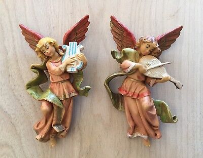 2 Vintage Fontanini Depose Hanging Nativity Angels Excellent Condition