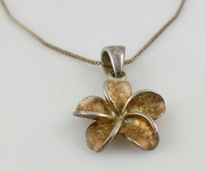 Sterling Silver Plumeria Flower Pendant Chain Necklace