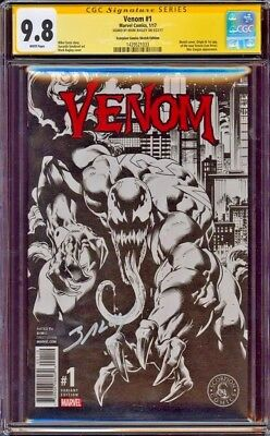 Venom #1 B&w Variant Cgc 9.8 Ss Mark Bagley Signed 1500 Only Made! Rare! Movie