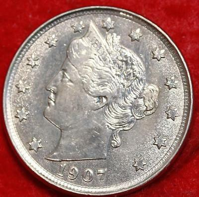 Uncirculated 1907 Philadelphia Mint Liberty Nickel Free Shipping