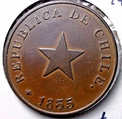 1835 Chile Un Centavo 1 Year Type Nice Condition Circulated Coin