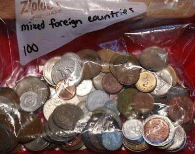 100 Mixed Country Foreign Coins Free S/H