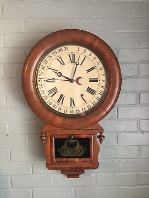 Antique Ansonia Drop Calendar Wall Clock Chime Gong Hand Painted Dial by Carman