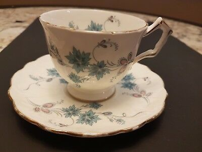 Vintage Aynsley Bone China Footed Cup And Blue Saucer Pastel Blue & Pink Floral