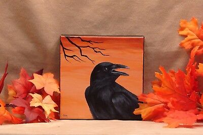 Original Autumn Halloween Painting Black Crow Raven
