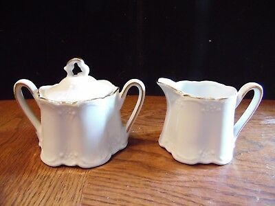 Vintage Embossed White Porcelain  With Gold Trim Cream & Sugar