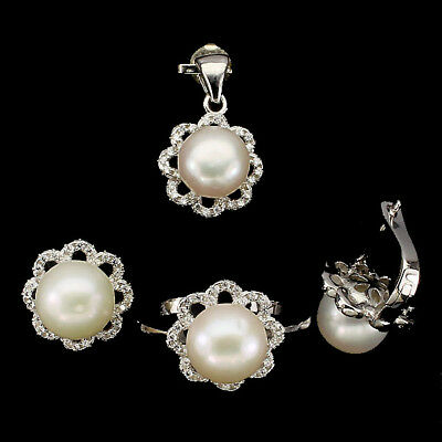 Deluxe Round Button 9 Mm Creamy White Pearl White Cz 925 Sterling Silver Sets Nr
