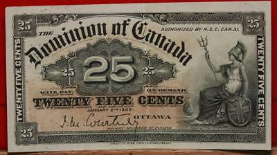 1900 Dominion Of Canada 25 Cents Note Free S/H!