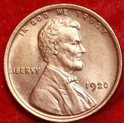 Uncirculated 1920 Philadelphia Mint Red Copper Lincoln Wheat Cent Free Shipping