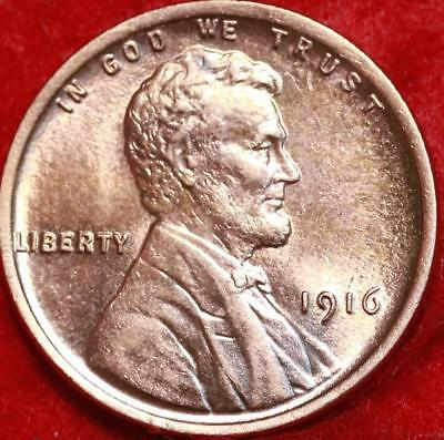 Uncirculated 1916 Philadelphia Mint Red Copper Lincoln Wheat Cent Free Shipping