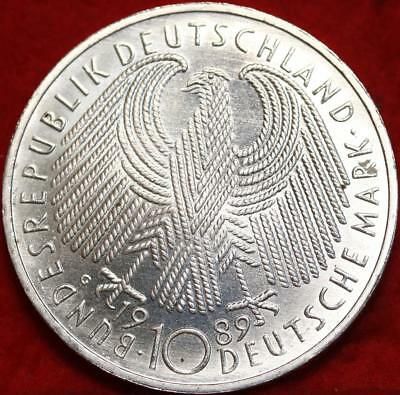 Uncirculated 1989-G Germany 10 Mark Foreign Silver Coin Free S/H
