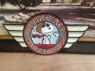Aviator Snoopy Dog Flying Pilo Embossed Metal Signn Shop Display Garage Man Cave