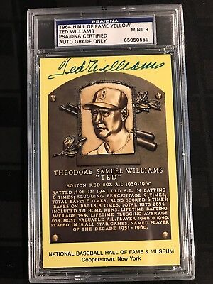 1964 HOF PLAQUE YELLOW Auto. TED WILLIAMS PSA/DNA CERTIFIED & GRADED PSA 9 MINT