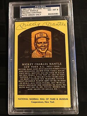 1964 HOF PLAQUE YELLOW Signed MICKEY MANTLE PSA/DNA CERTIFIED & GRADED PSA 8