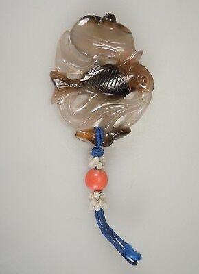 Chinese Carved Agate Pendant -Fish & Peach- w/ Coral Bead