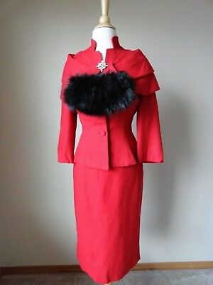 VTG 50s LILLI ANN RED FITTED SUIT PENCIL SKIRT & BLACK FUR TRIM 6 AMAZING